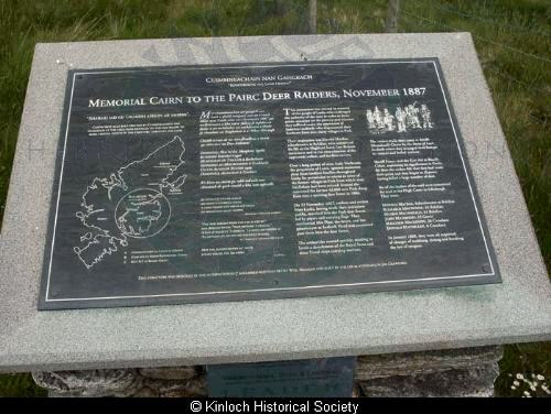 Inscription on Pairc Memorial cairn