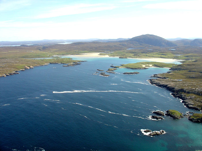 Aerial view of Camas Uig and Uig Sands