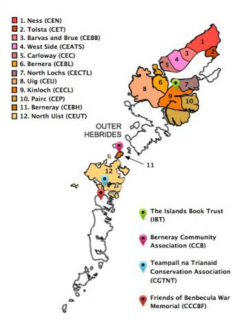 Map of areas covered by the Hebridean Connection project