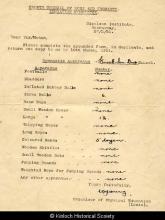 Knockiandue School gymnasium equipment record, 1951 <a href='/image-details/89143'>(more info)</a>